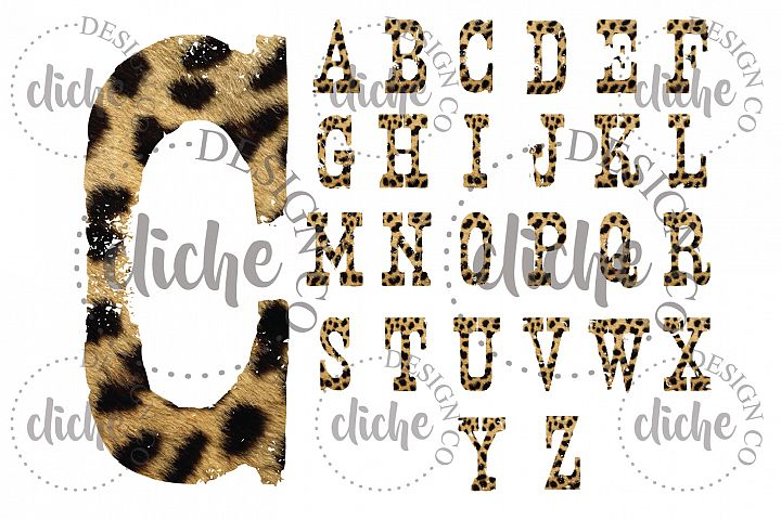Grunge Cheetah Alphabet Sublimation Set