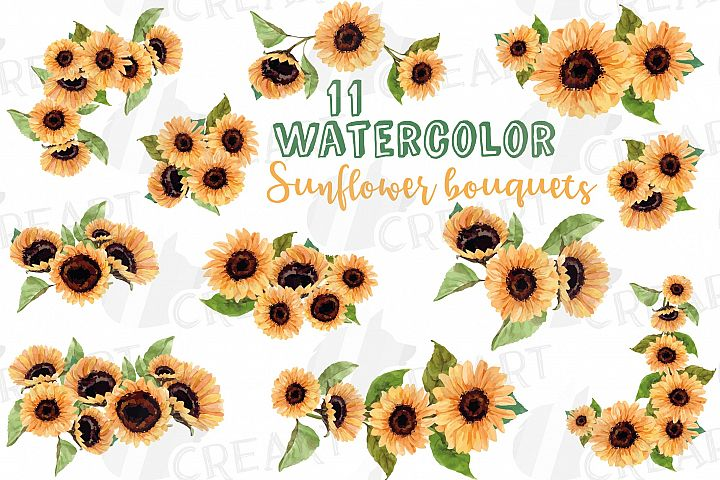 Sunflower bouquets watercolor clip art, digital floral decor