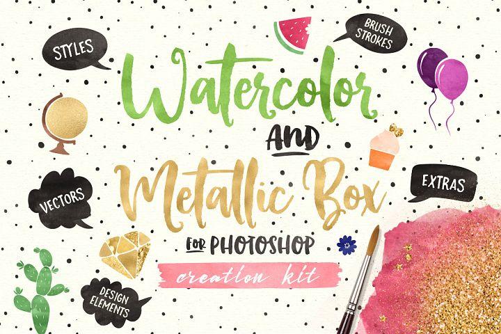 (PS) Watercolor and Metallic Box