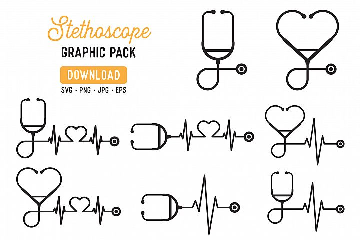 Stethoscope Vector Graphic Pack - Hospital Clipart