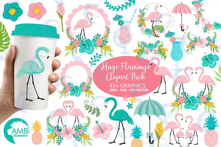 Flamingos clipart mega pack, graphics, illustr, AMB-2618