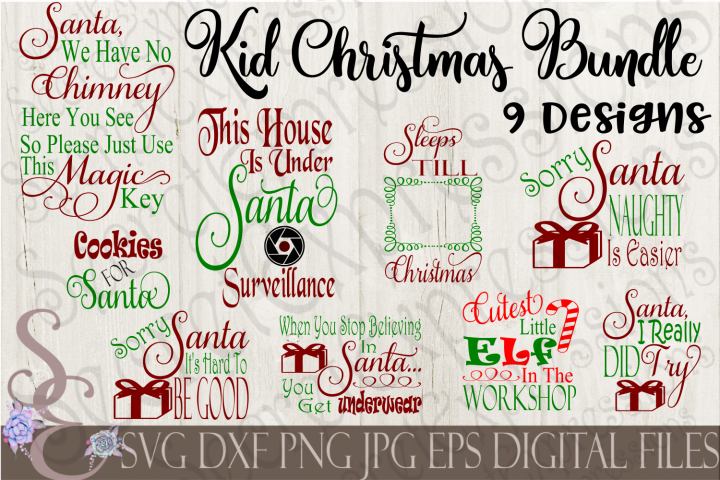 Kid Christmas SVG Bundle 9 Designs