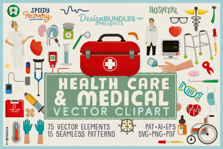 Health Care & Medical Vector Clipart & Seamless Patterns