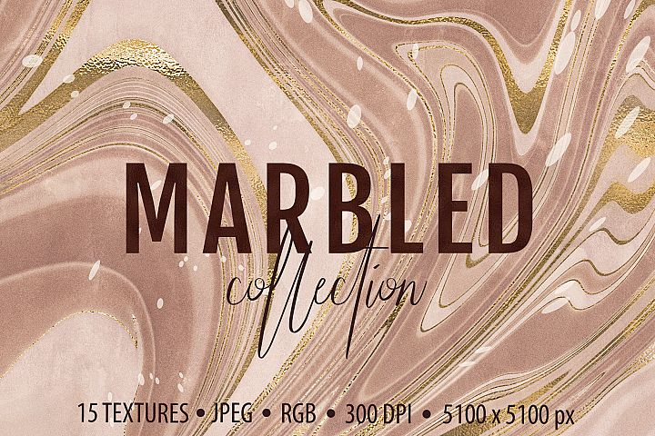 Marbled Paper Textures Collection - 15 Digital Papers