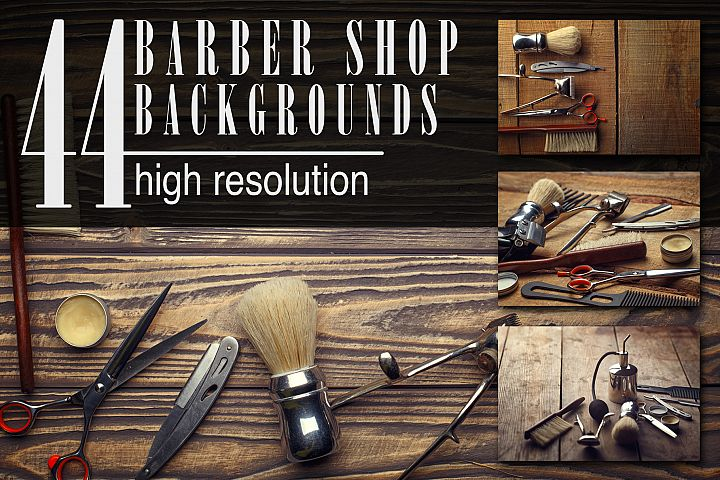 Barber shop wooden backgrounds JPG set example
