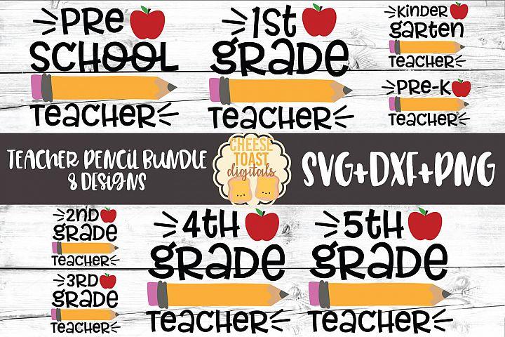 Teacher Pencil Bundle - Back to School SVG PNG DXF Cut Files