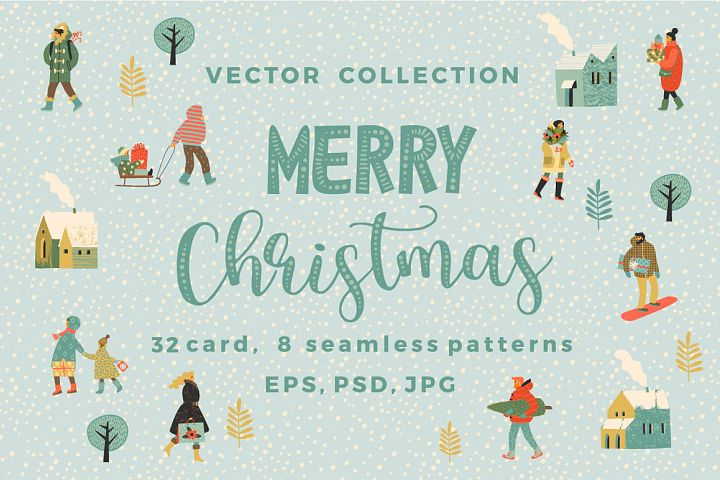 Merry Christmas vector collection