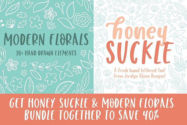 Honey Suckle and Modern Florals Font and Design Bundle