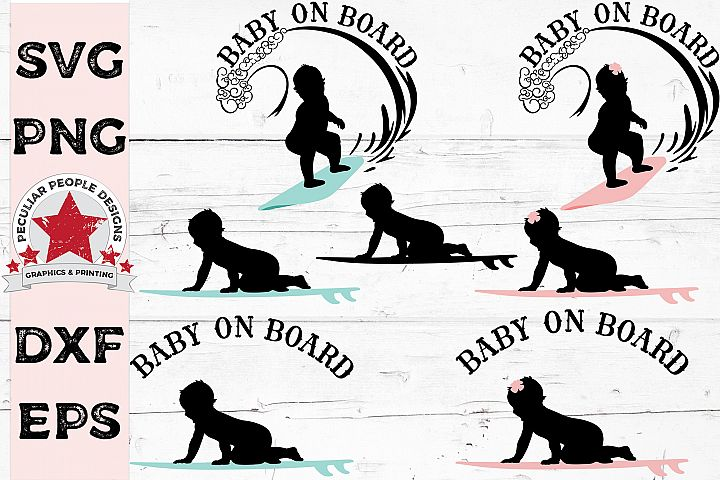 SVG Bundle Baby On Board Surfer Car Decal Gender Reveal