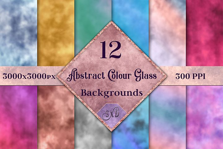 Abstract Colour Glass Backgrounds - 12 Image Textures Set