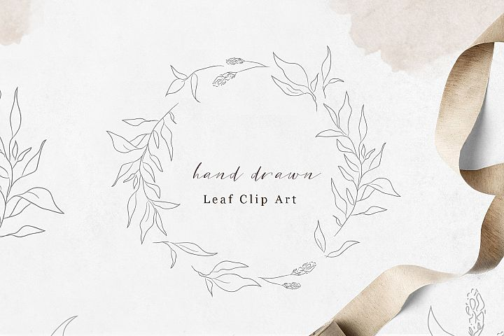 Hand Drawn leaf wreath - foliage