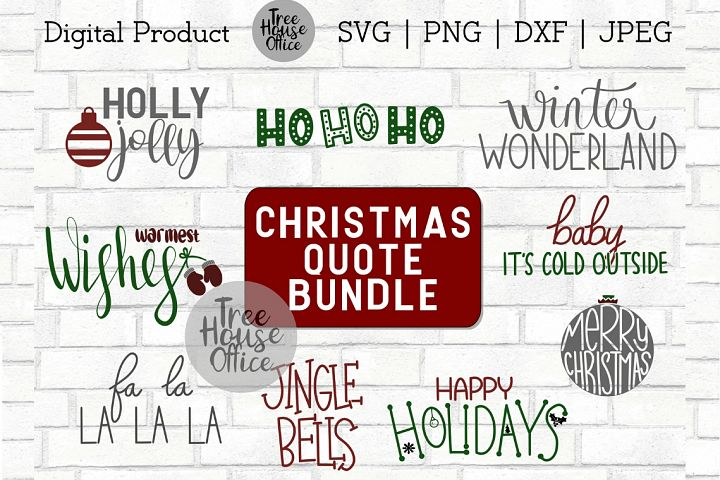 Christmas Quote Bundle, Sign Making Bundle SVG DXF PNG JPEG