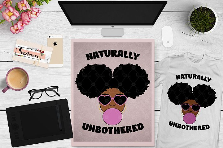Afro Girl, Afro Puff, Naturally Unbothered SVG Cut File example image 1