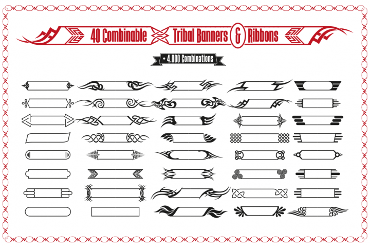Tribal Banners, Frames & Ribbons