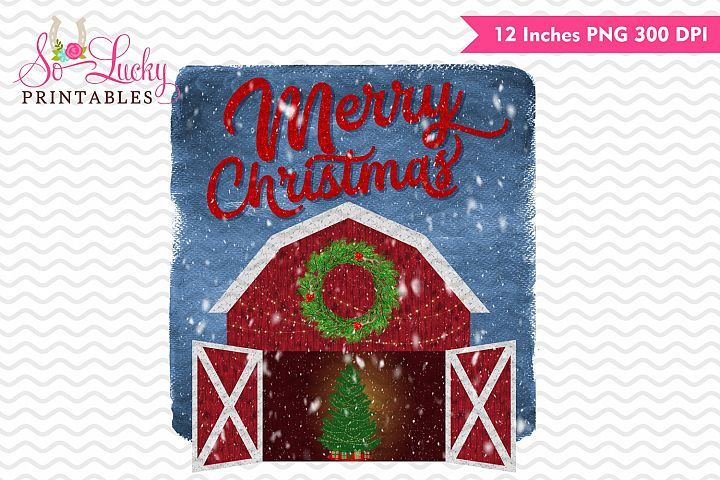 Merry Christmas barn watercolor printable sublimation design