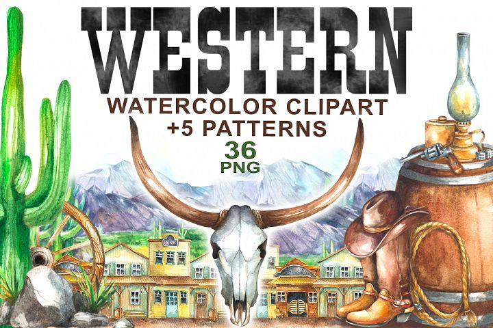 Watercolor Western Clipart