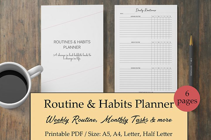 Routine Planner, Habit Tracker, Morning Routine Checklist