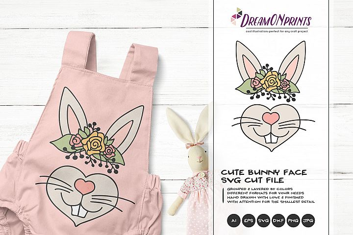 Bunny Face SVG Cut File - Cute Bunny Illustration