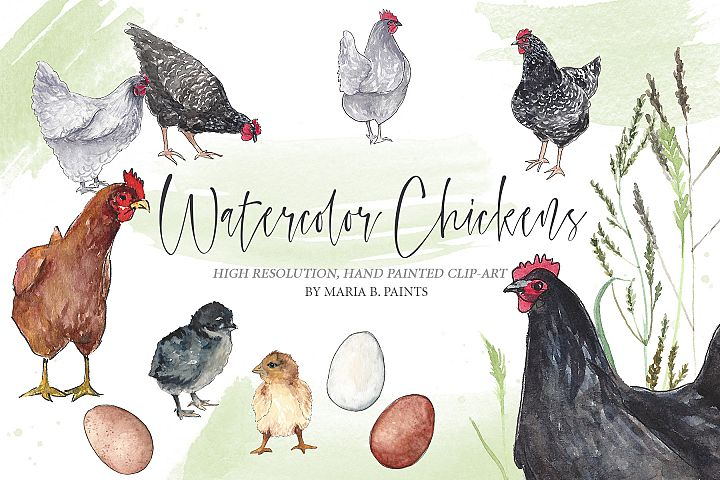 Farm Chickens Watercolor Clipart Set
