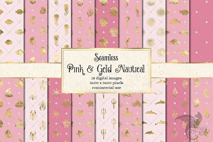 Pink and Gold Nautical Digital Paper