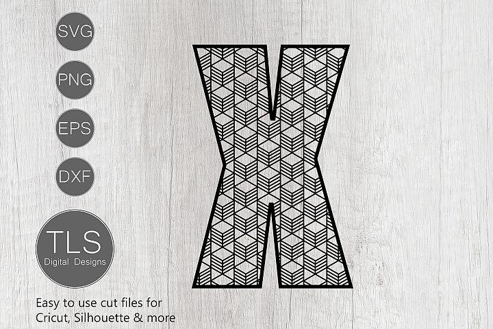 Geometric Pattern Letter X SVG, Letter X SVG Cut file