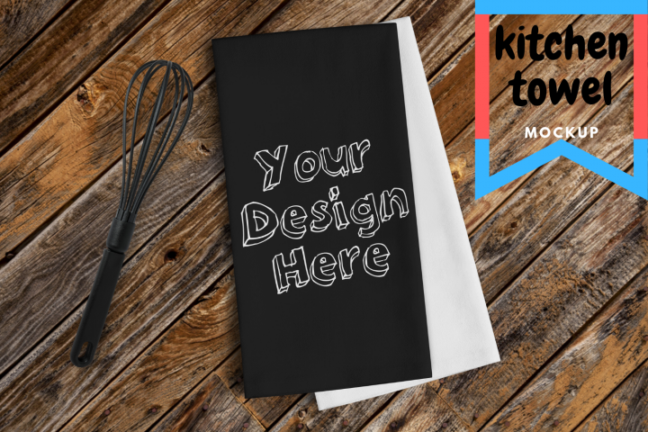 Black Kitchen Towel Mockup | PNG