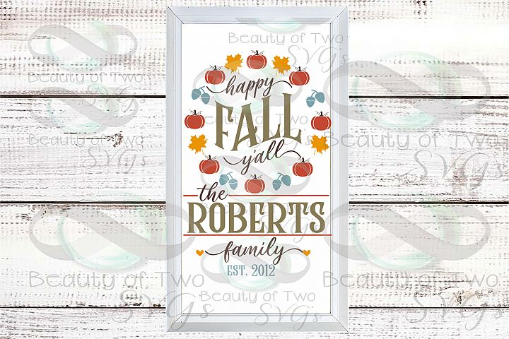 Happy Fall Yall customize Last Name wreath svg sign design