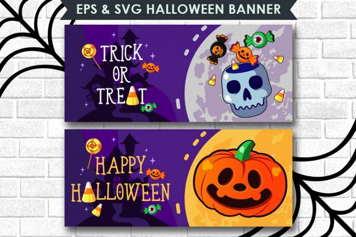Happy Halloween Banner EPS & SVG FILES, Pumpkin and skull