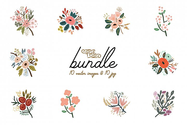 Hand drawn flowers, wedding bouquets, vector clip art