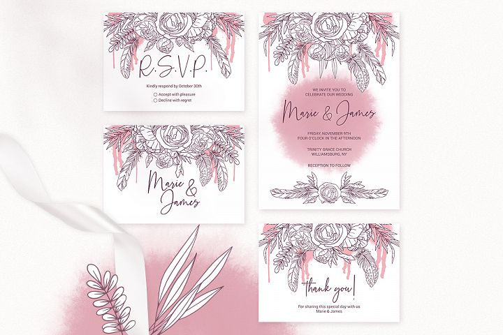 Boho Wedding Invitation Cards. Floral Printable Template example image 2