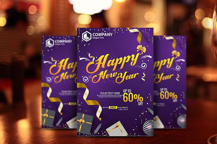Happy New Year Sale Poster Vector Template Design