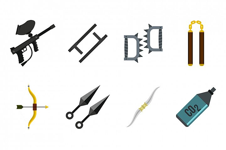 Weapons icon set, flat style
