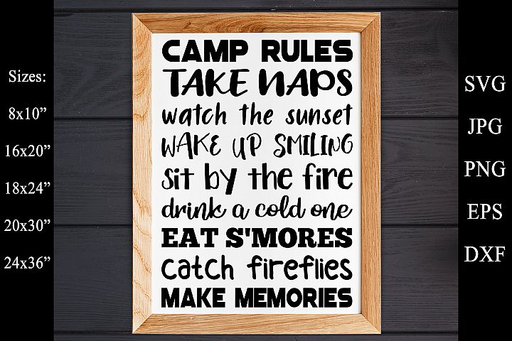 Camp Rules SVG EPS PNG Camping Rules SVG Camping Sign