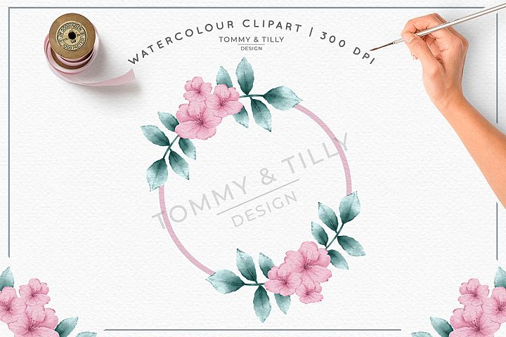 Blank Pink Wreath- Sublimation PNG Clipart