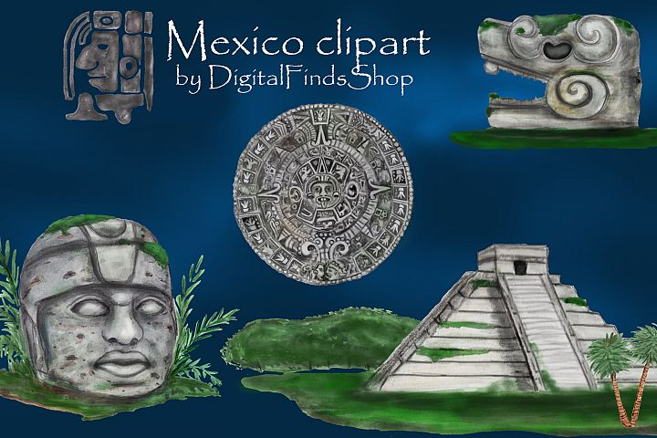 Mayan clipart, ancient civilizations of Mexico watercolor