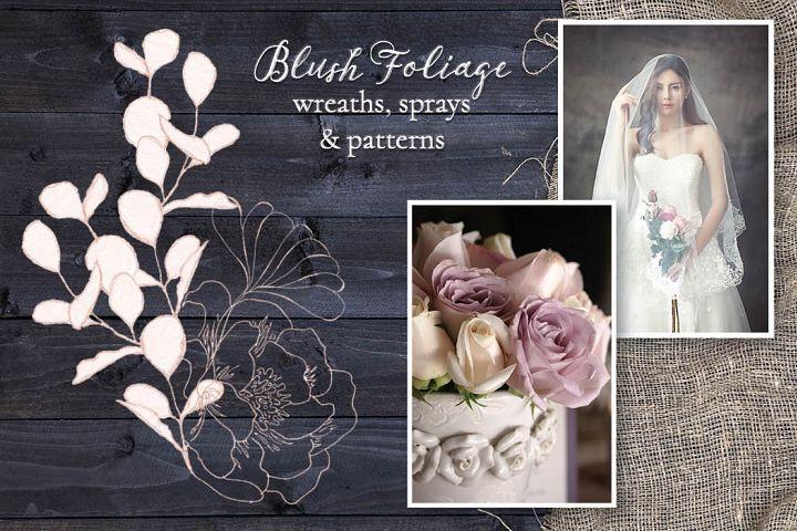 Blush foliage clip art bundle