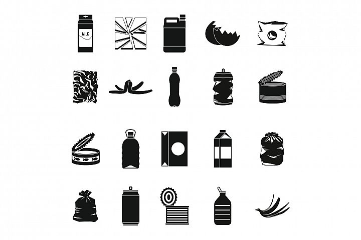 Garbage icon set, simple style