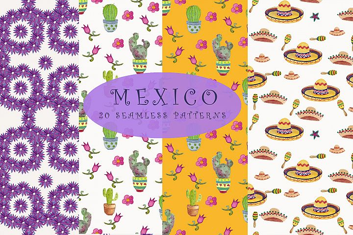 Mexico. Seamless patterns. Digital paper