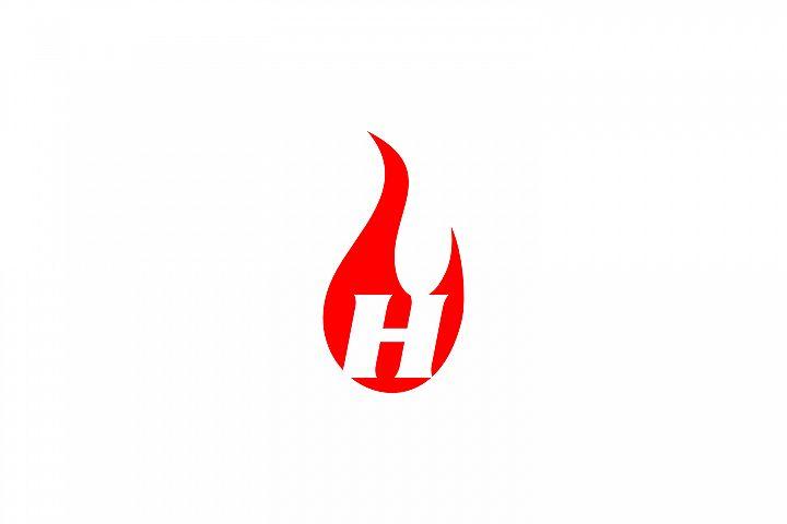 h letter flame logo