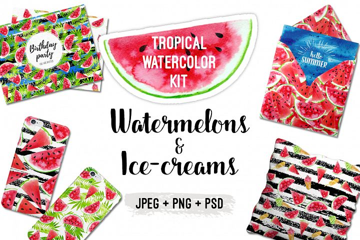 Watercolor Watermelons & Ice-creams