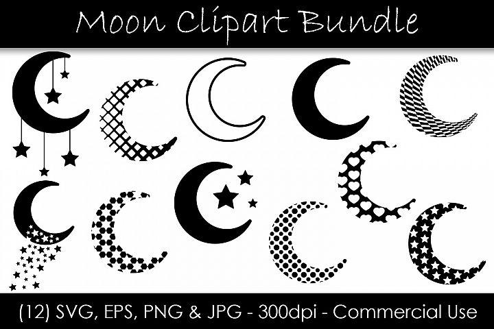 Moon SVG Bundle - Moon Shape Clip Art - Moon Silhouettes