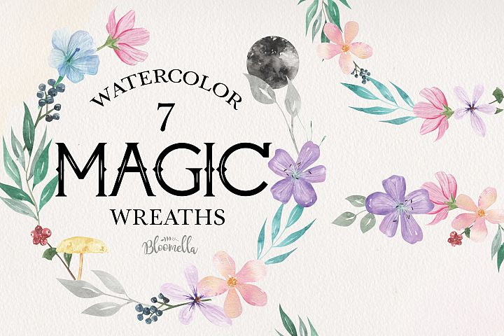 Magic Flowers Leaf Floral 7 Wreath Watercolor Flower Moon