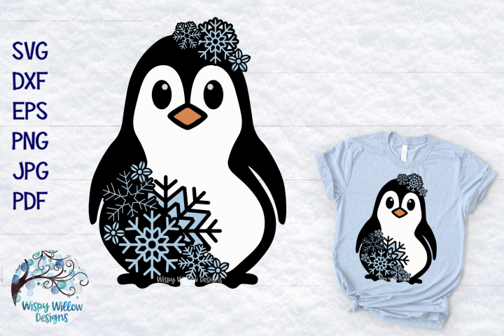 Snowflake Penguin SVG | Winter Penguin Layered SVG Cut File