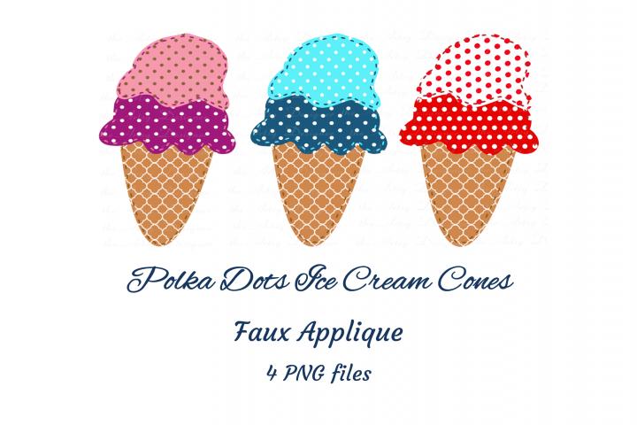 Faux Applique Trio Polka Dots Ice Cream Cones Clipart