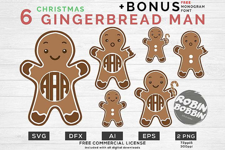 Gingerbread Man - Monogram SVG Bundle