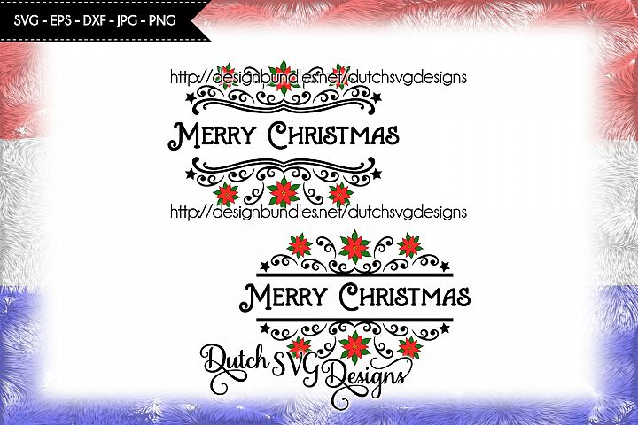 2 Split name cutting files, christmas svg, poinsettia svg