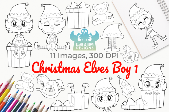 Christmas Elves Boys 1 Digital Stamps