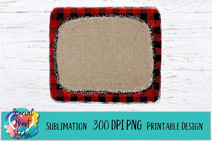 Buffalo Plaid Burlap Frame - Christmas Sublimation