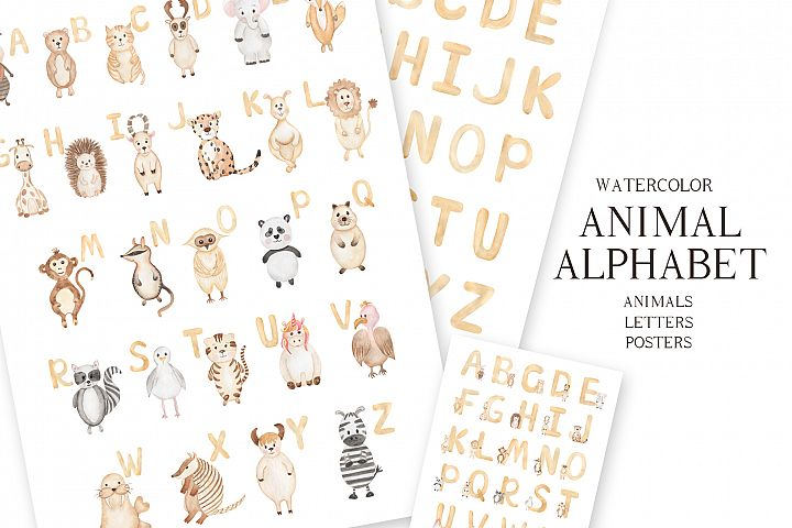 Watercolor Animal Alphabet