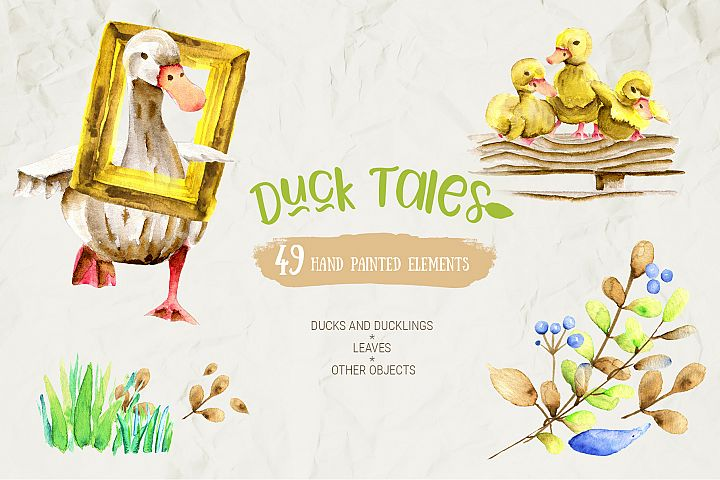 Watercolor Farm Birds and Plants Set